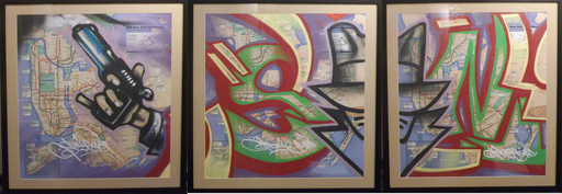 SONIC - Painting - Sonic NYC Subway Map Triptych