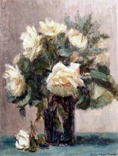 Albert Gaston GUILLOUX - Gemälde - BOUQUET DE ROSES BLANCHES