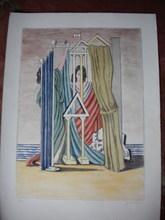 Giorgio DE CHIRICO - Stampa Multiplo - Figura femminile in tempio metafisico