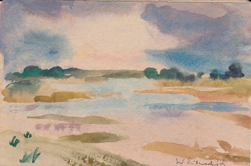 Willy EISENSCHITZ - Drawing-Watercolor - Paysage de provence