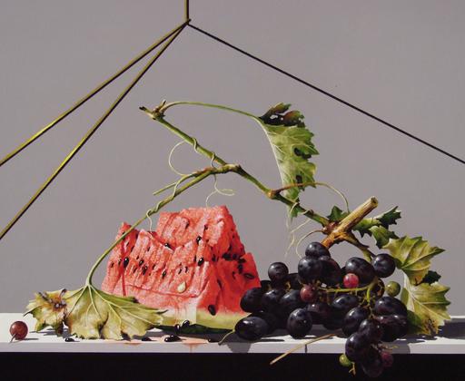 GERICO - Painting - Natura in posa (anguria,uva e ciliegia)