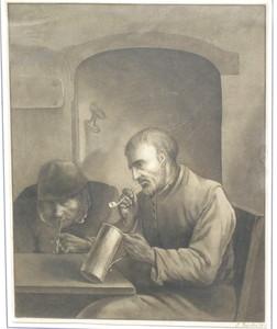 Justus JUNCKER - Zeichnung Aquarell - Interieur mit zwei rauchenden Männern