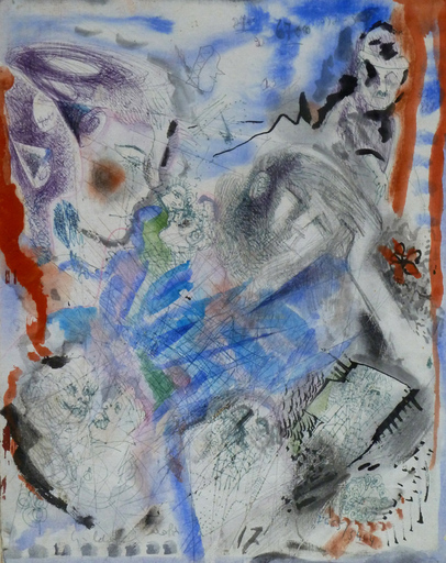 Jacob GILDOR - Drawing-Watercolor - Meditation, Telephone Drawing