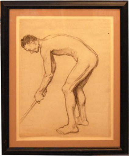Edmund QUINCY - Drawing-Watercolor - Academic Study Of A Man With Golf Club