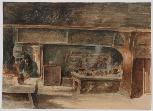 "Ernst JUCH - Dibujo Acuarela - ""Peasant Kitchen"" by Ernst Juch, Late 19th Century"