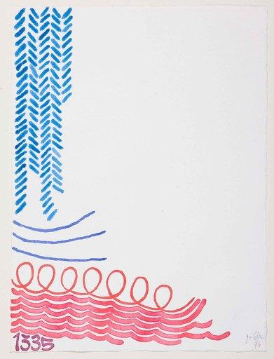 Giorgio GRIFFA - Dibujo Acuarela - TRE LINEE CON ARABESCO N. 1335