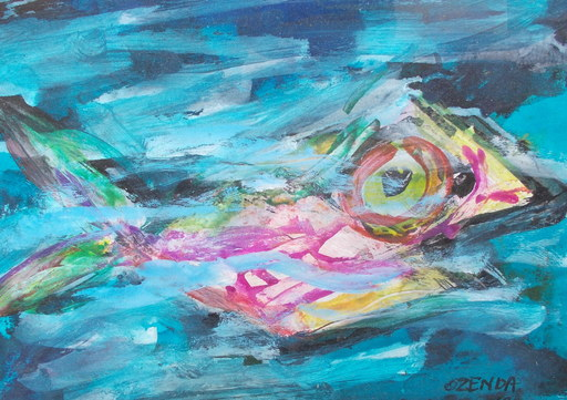 François OZENDA - Dibujo Acuarela - Le poisson