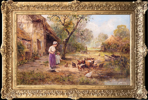 Ernest Charles WALBOURN - Painting - Feeding Time
