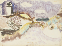 Eduard BARGHEER - Dibujo Acuarela - Leuchtturm auf Kampen