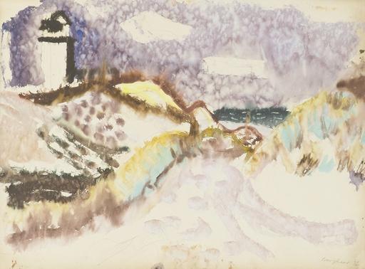 Eduard BARGHEER - Drawing-Watercolor - Leuchtturm auf Kampen