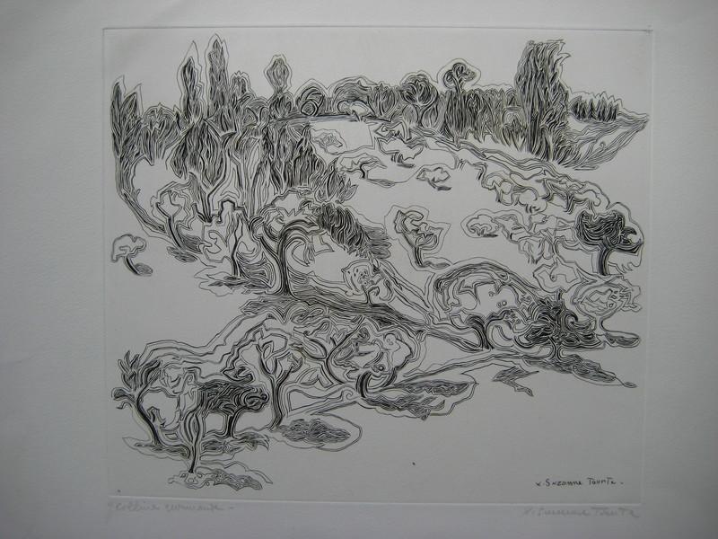 Suzanne TOURTE - Print-Multiple - GRAVURE 1948 SIGNÉE AU CRAYON HANDSIGNED ETCHING