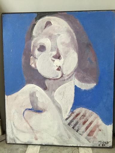 Jean Georges CHAPE - Painting - Tête fond bleu