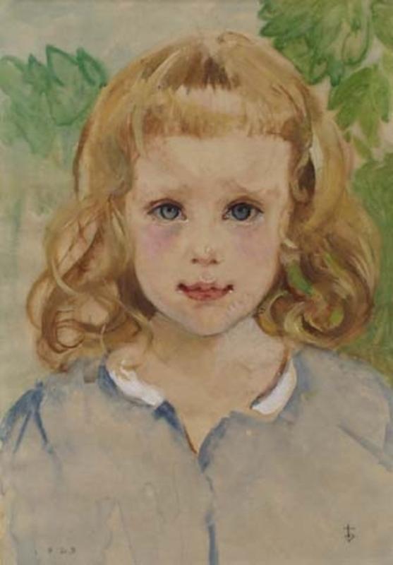 """Karl ENGEL - Zeichnung Aquarell - """"Portrait of a Girl"""" by Karl Engel (b.1889), Watercolour"""