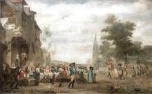 Georges Jean Marie HAQUETTE - Pintura - Fête de village en Bretagne
