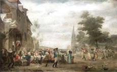 Georges Jean Marie HAQUETTE - Painting - Fête de village en Bretagne