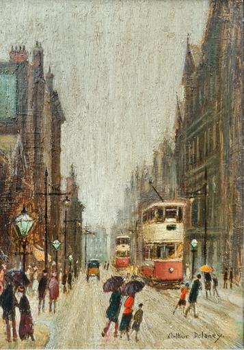 Arthur DELANEY - Pittura - Street Scene