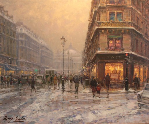 Juan BAYON SALADO - Pittura - Nieve en la opera (Paris)