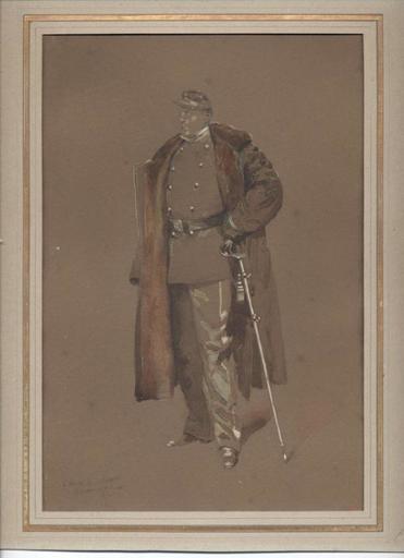 Edouard DETAILLE - Drawing-Watercolor - Lieutenant d'infanterie second empire