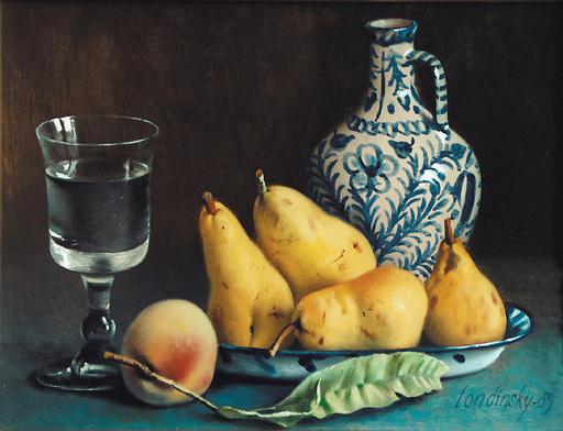 Bernard LONDINSKY - Pintura - Poires et pêche au verre d'eau