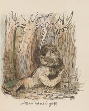 Alfred KUBIN - Dibujo Acuarela - Der Waldgott