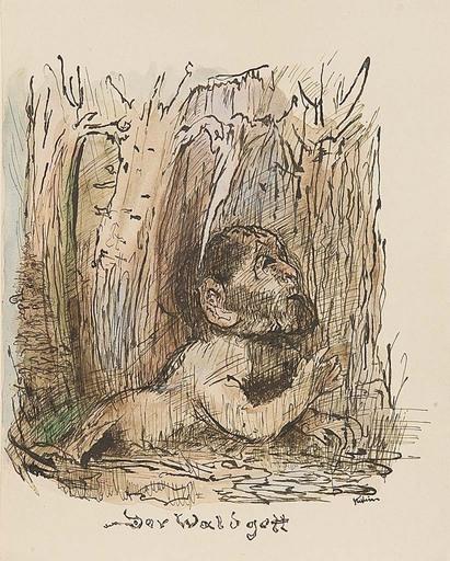 Alfred KUBIN - Drawing-Watercolor - Der Waldgott