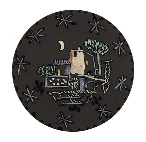 Pablo PICASSO - Ceramiche - Paysage à la maison sous la lune et les étoiles
