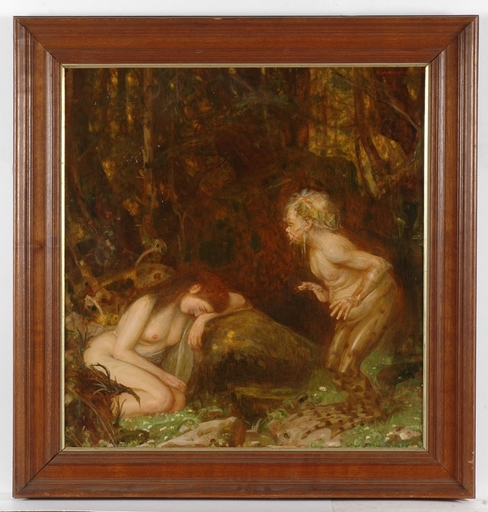 """Paul GRABWINKLER - Peinture - """"Water Sprite and Nymph"""", Early 20th Century, Oil on Canvas"""