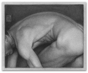 Michael LEONARD - Disegno Acquarello - Man Bending Turning