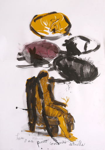 Maikel SOTOMAYOR - Drawing-Watercolor - 3 Caciques - Tryptique