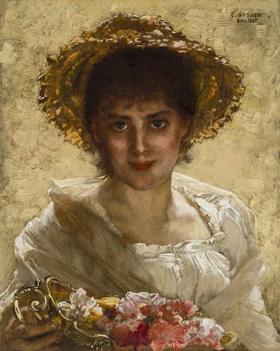 Carl GUSSOW - Peinture - Flora