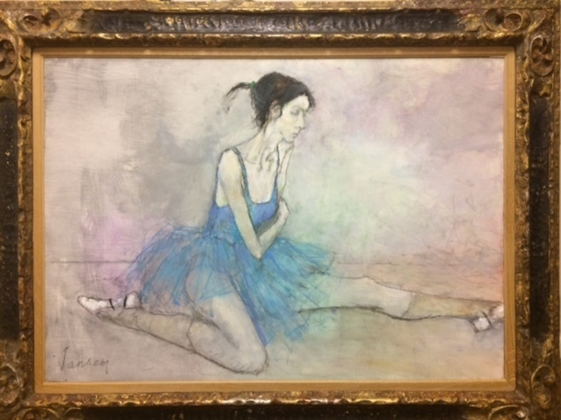Jean JANSEM - Painting - Seated Ballerina with blue tutu