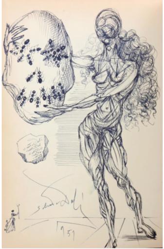 Salvador DALI - Disegno Acquarello - Ant Skull