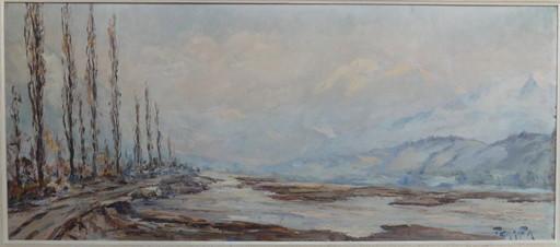 Francis CARIFFA - Painting - Le Mont Blanc et l'Isère