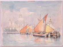 """Wolfgang TRITT - Dibujo Acuarela - """"Venice"""", Watercolor"""