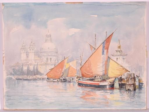 "Wolfgang TRITT - Dessin-Aquarelle - ""Venice"", Watercolor"