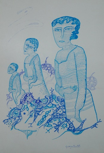 "Joan BROTAT VILANOVA - Dibujo Acuarela - ""Tres mujeres"""