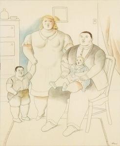 Fernando BOTERO - Peinture - La famiglia in un interno