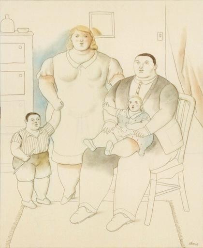 Fernando BOTERO - Pintura - La famiglia in un interno