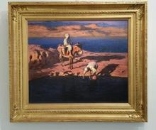 Adam STYKA - Painting - Sunset at the oasis