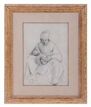 Camille PISSARRO - Drawing-Watercolor - Mère et enfant