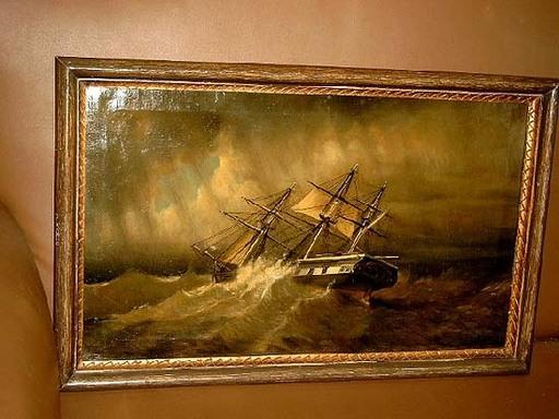 Rafael MONLÉON Y TORRES - Painting - Segelschiff im Sturm