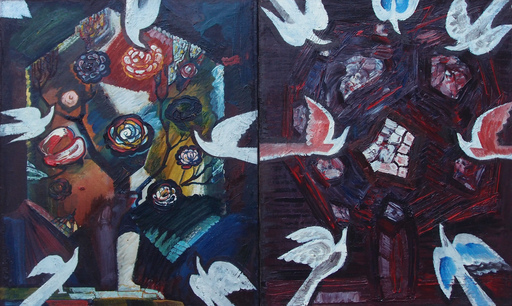 "Sergey BORISOV - Pintura - Bouquet ""Flowers with white birds"" Diptych"