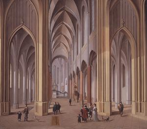Johann Ludwig Ernst MORGENSTERN - Pittura - Innenansicht einer dreischiffigen gotischen Kirche.
