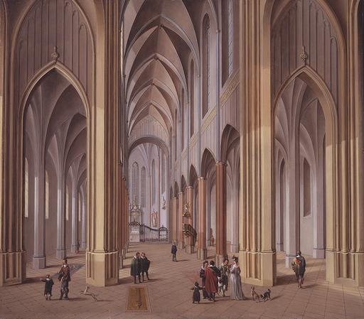 Johann Ludwig Ernst MORGENSTERN - Painting - Innenansicht einer dreischiffigen gotischen Kirche.