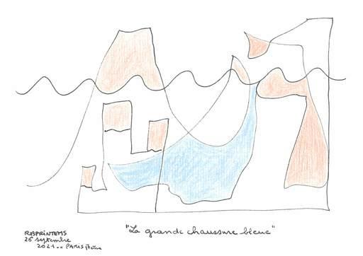 """Reine BUD-PRINTEMS - Zeichnung Aquarell - """"La grande chaussure bleue"""""""