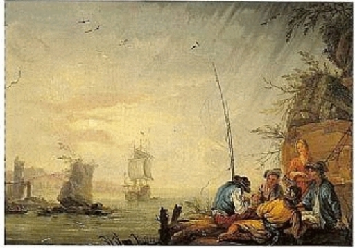 Albertus VAN DER BURCH - Painting - scène de ports méditerranéens
