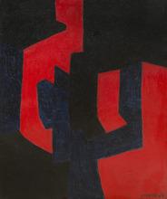 Serge POLIAKOFF - Peinture - Composition noire, bleue et rouge