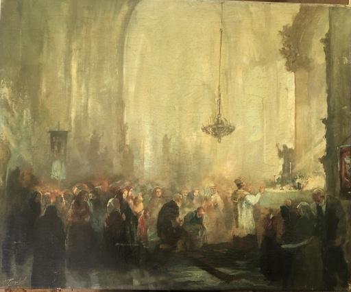 Antal Anton PÉCZELY - 绘画 - Gottesdienst in barocker Kirche