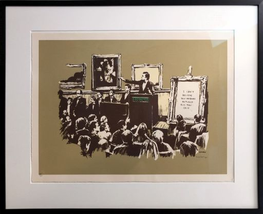 BANKSY - Estampe-Multiple - Morons Sepia signed