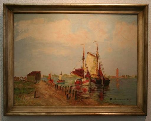 Heinz MINDERMANN - Pintura - Fischerboote im Hafen von Nordernay